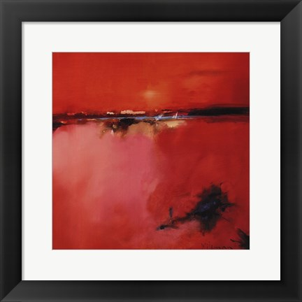 Framed Orange Horizon - square Print