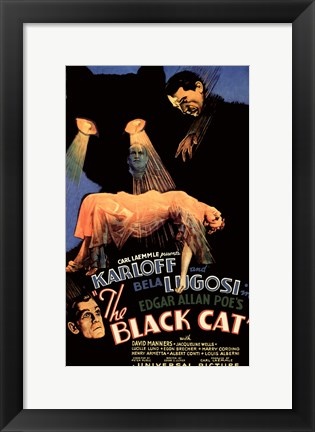 Framed Black Cat, c.1934 Print