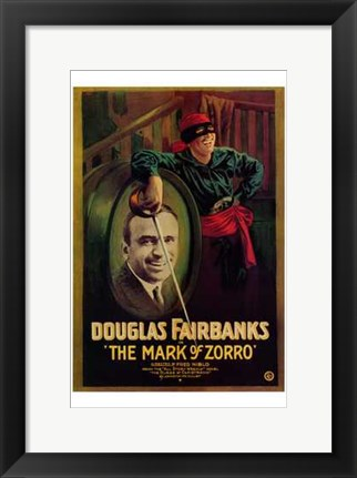Framed Mark of Zorro Douglas Fairbanks Print