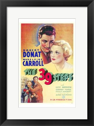 Framed 39 Steps Carroll and Donat Print