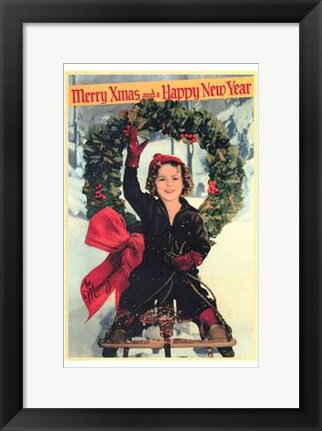 Framed Shirley Temple Christmas Greeting Print