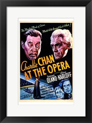 Framed Charlie Chan At the Opera Oland And Karloff Print