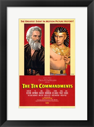 Framed Ten Commandments Pharoah Print