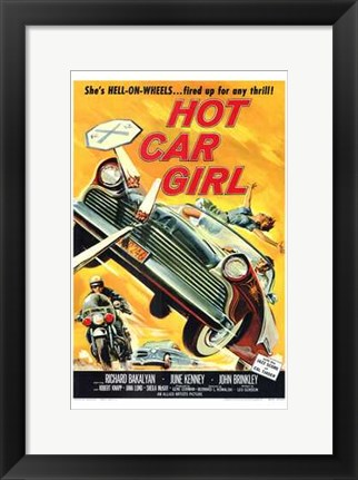 Framed Hot Car Girl Print