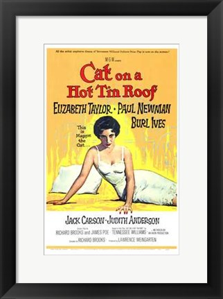 Framed Cat on a Hot Tin Roof Elizabeth Taylor & Paul Newman Print