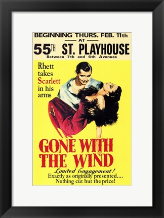 Framed Gone with the Wind Vintage Theater Advertisement Yellow Print