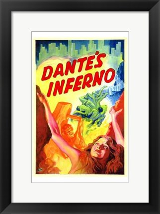 Framed Dante's Inferno - woman looking up Print