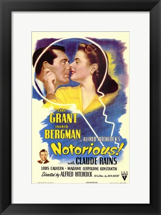 Framed Notorious Bergman and Grant with Claude Rains Print