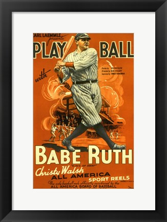 Framed Play Ball with Babe Ruth Print