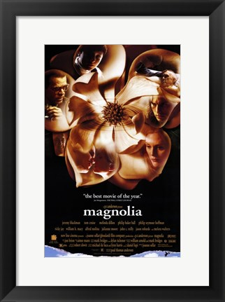 Framed Magnolia Flower with Cast's Faces Print