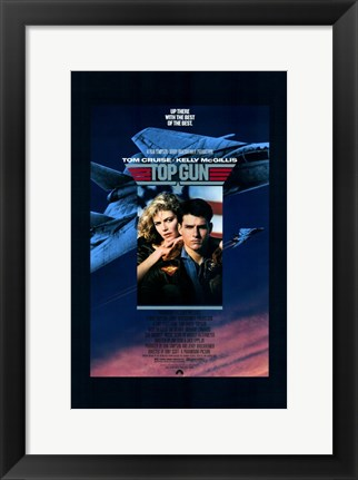 Framed Top Gun Fighter Jet & Tom Cruise Print