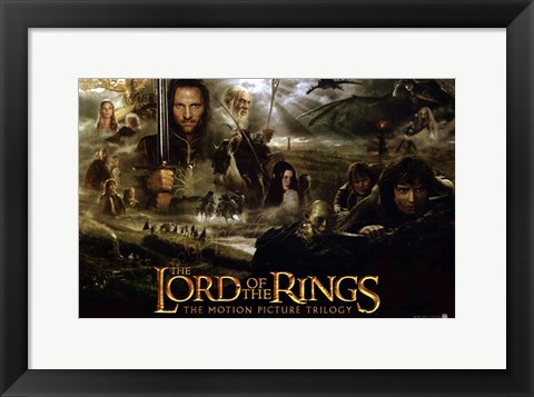 Framed Lord of the Rings: Fellowship of the Ring Collage Print