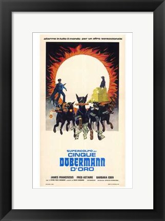 Framed Amazing Dobermans Italian Print