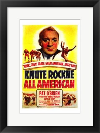 Framed Knute Rockne All American Print