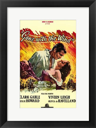 Framed Gone with the Wind Yellow Border Print