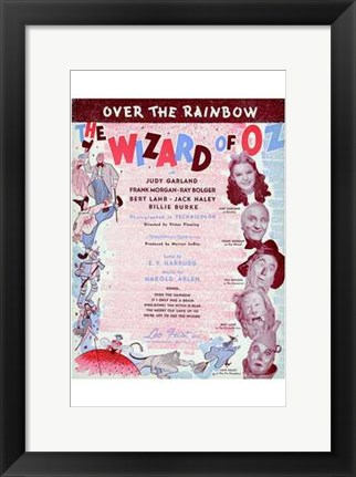 Framed Wizard of Oz Over the Rainbow Print