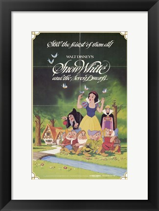 Framed Snow White and the Seven Dwarfs with Apple Print