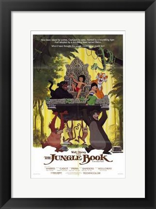 Framed Jungle Book Mowgli on Aztec Throne Print