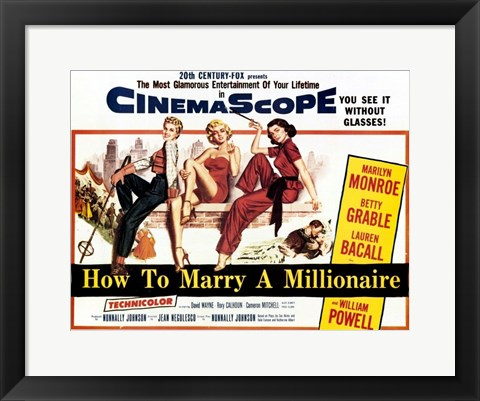 Framed How to Marry a Millionaire, c.1953 - style A Print