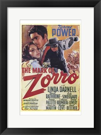 Framed Mark of Zorro Linda Darnell Print