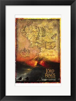 Framed Lord of the Rings: the Two Towers Map Print