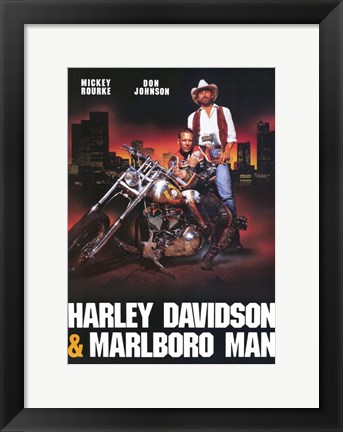 Framed Harley Davidson and Marlboro Man Print