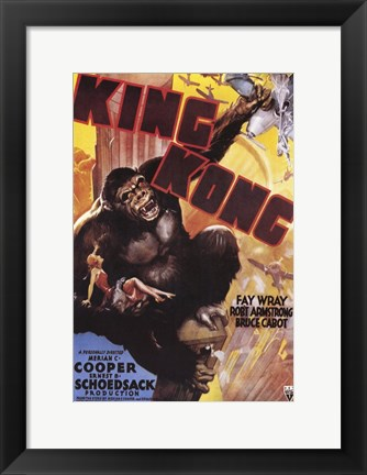 Framed King Kong Grabbing Airplane Print
