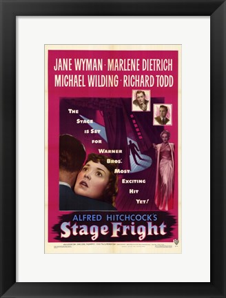 Framed Stage Fright Jane Wyman Print