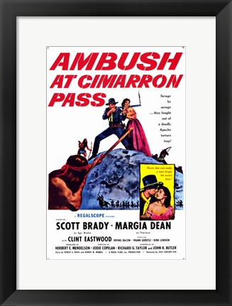 Framed Ambush At Cimarron Pass Print