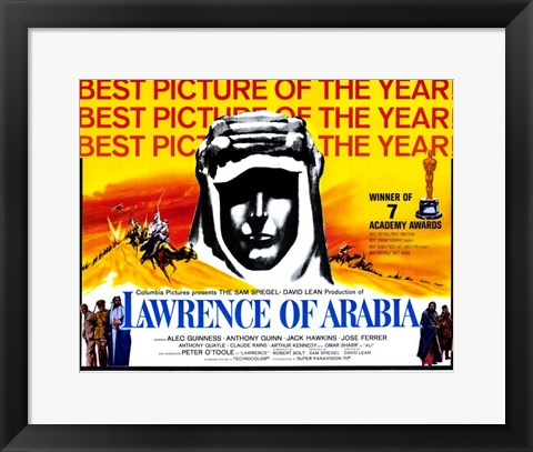 Framed Lawrence of Arabia Best Picture of the Year Yellow Print