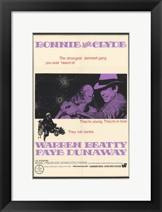 Framed Bonnie and Clyde Dunaway & Beatty Print