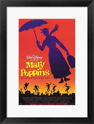 Framed Mary Poppins Silhouette Print