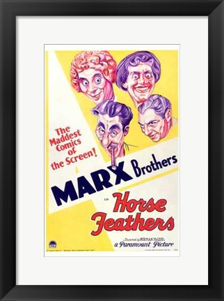 Framed Horse Feathers With The Marx Brothers Print