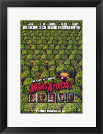 Framed Mars Attacks Green Brain Aliens Print