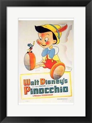 Framed Pinocchio with Jiminy Cricket Print
