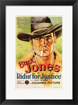 Framed Ridin' for Justice Smoking Cowboy Print