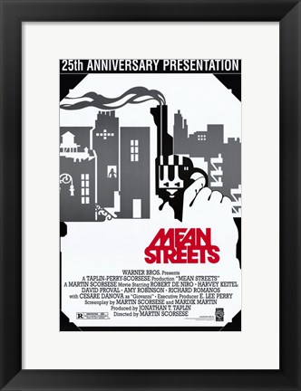 Framed Mean Streets Black and White Print