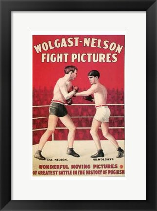 Framed Wolgast-Nelson Fight Pictures Print