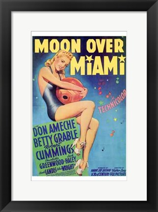 Framed Moon Over Miami Print