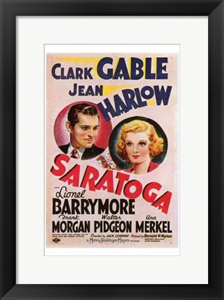 Framed Saratoga With Jean Harlow Print