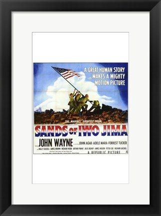 Framed Sands of Iwo Jima - American flag (square) Print