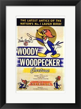 Framed Woody Woodpecker Print