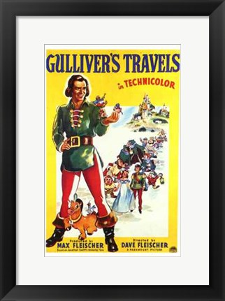 Framed Gulliver's Travels in technicolor Print