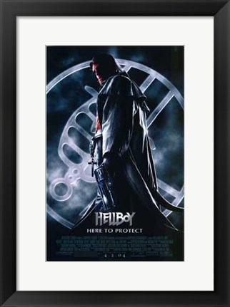 Framed Hellboy Hero to Protect Print