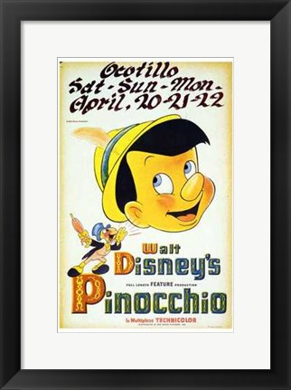 Framed Pinocchio Playing Ocotillo Print