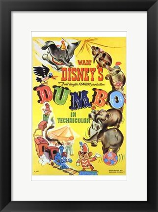 Framed Dumbo Cartoon Print