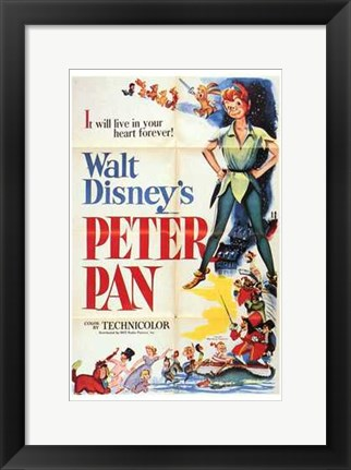 Framed Peter Pan it will live in your heart forever Print