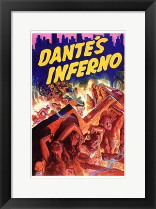 Framed Dante's Inferno - red Print