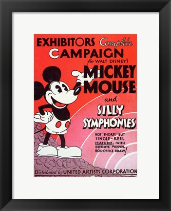 Framed Mickey Mouse and Silly Symphonies Print