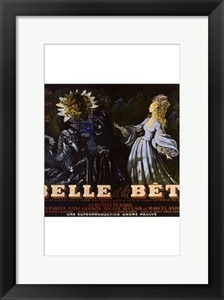 Framed Beauty and the Beast - French (square) Print